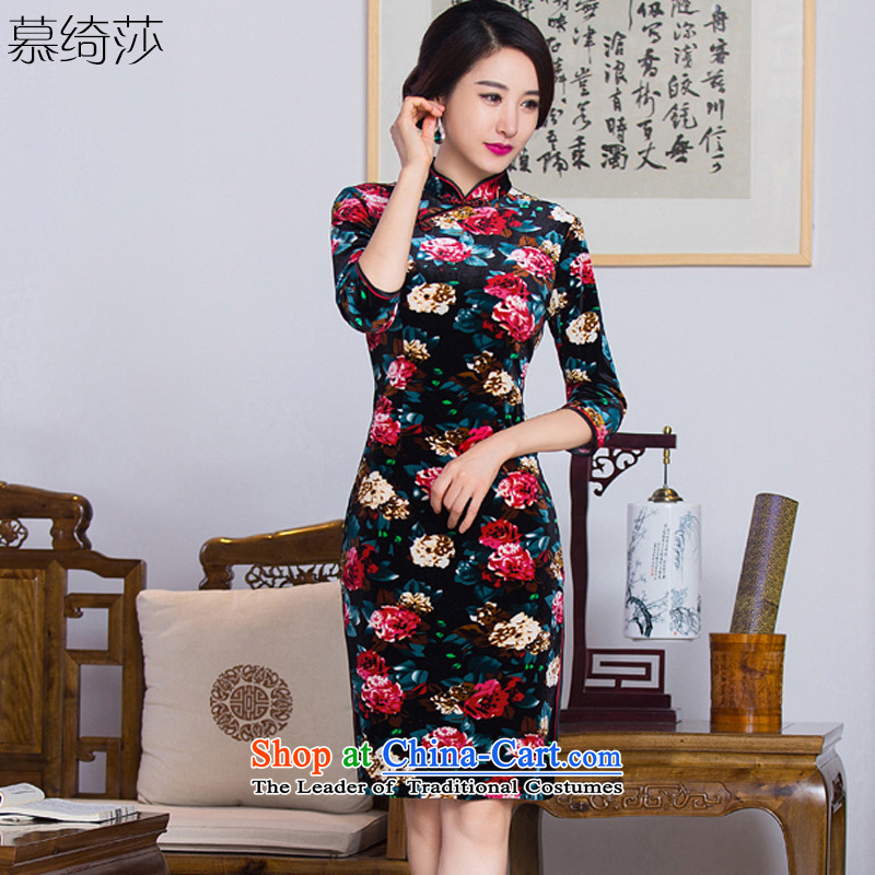 The cross-sa?2015 Antique style, the blossoms of improved in-sleeve gray velour robes cheongsam dress fall inside the older qipao mother?Q291?picture color?L