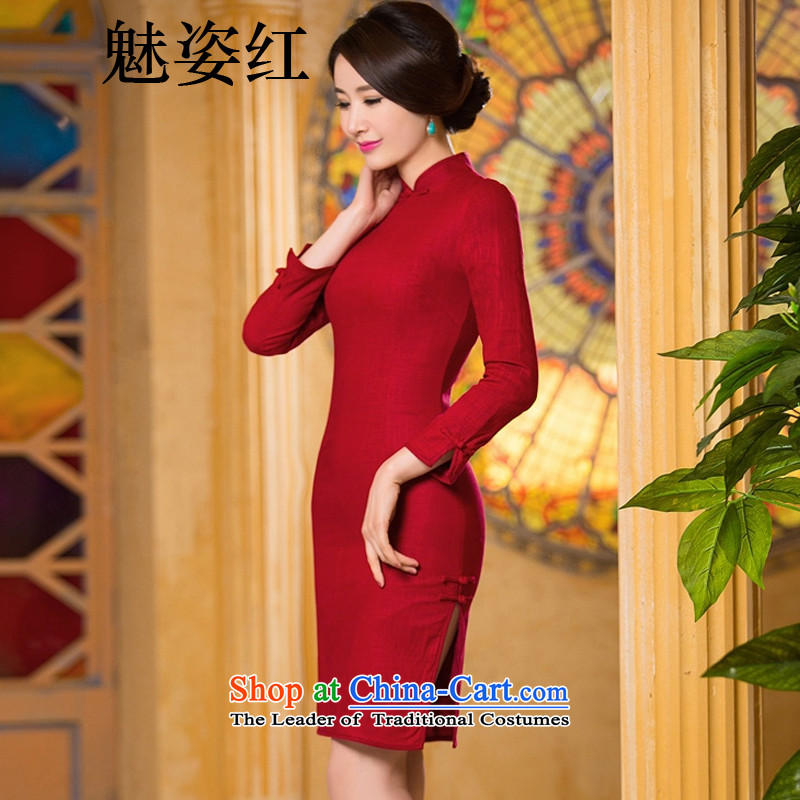 Gigi Lai red燼utumn 2015, staff of qipao dresses retro long double linen cotton linen dresses and stylish improved cheongsam dress in red with M