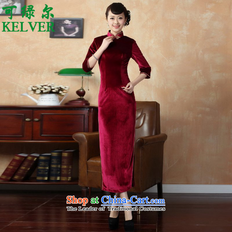 To Green, ethnic Chinese improved trendy new for women pure color and the Stretch Wool 7 Cuff Kim Tang replacing old _T0001_ qipao wine red聽2XL