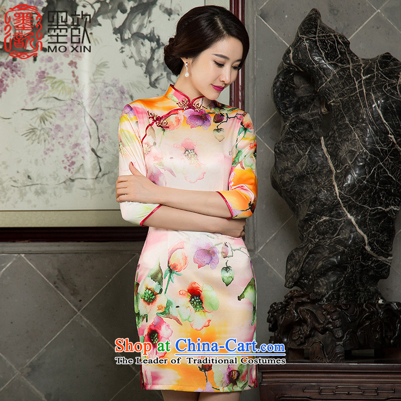The autumn 2015 Tung temperament 歆 qipao autumn load of 7 new Sau San stylish cuff retro qipao cheongsam dress SZ3C005 improved daily picture color M