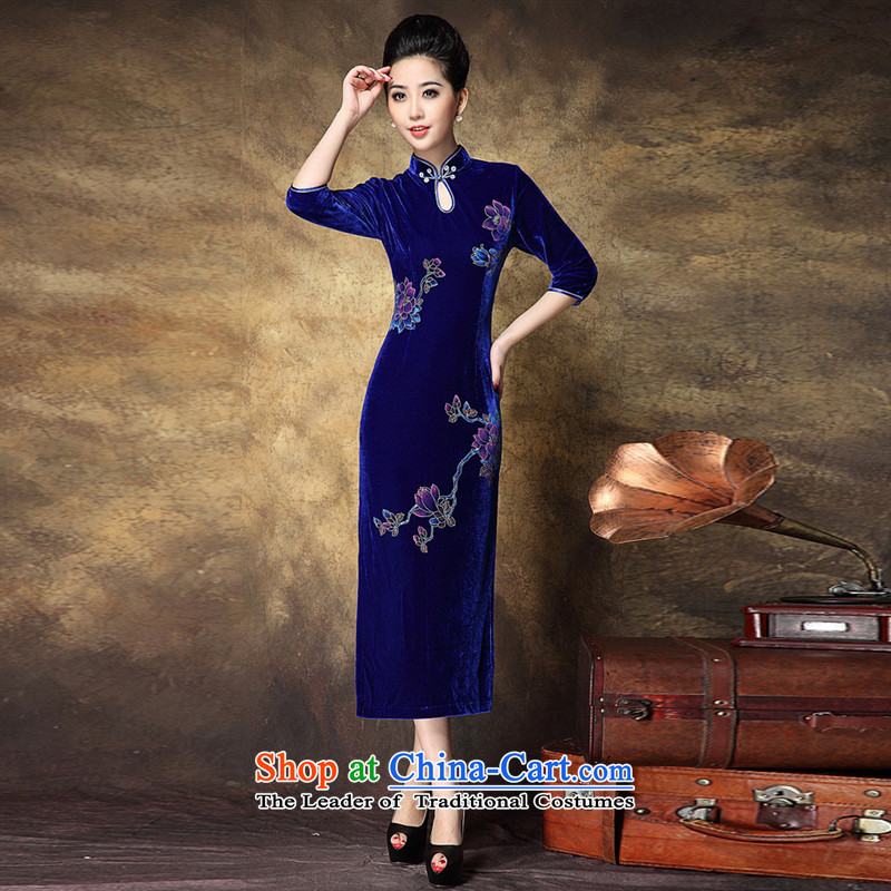 Web soft clothes China wind-know the rich and elegant ladies new products embroidered retro personality magnificent courage empty blue qipao XXL