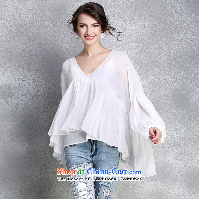 Web soft clothes 2015 new women's clothes for larger women loose deep V-Neck lanterns cuff large flows of Netherlands, forming the CAMI RED燤