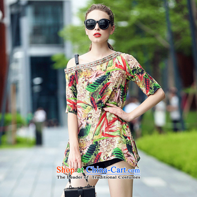Web soft clothes Western women's summer new small-quality culture silk stamp sexy picture color T-shirt Shoulder?L