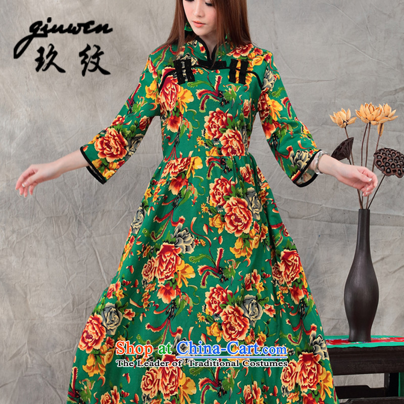 The new term of Ko Yo CHINESE CHEONGSAM ethnic women palace tray clip larger dresses cotton linen dress female JM-048-8002 GREEN燤