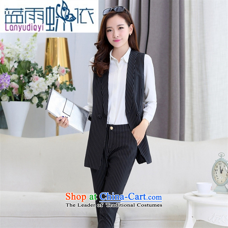 Ya-ting shop 2015 new products fall Korean female vest BXF1637 two kits Black聽XL