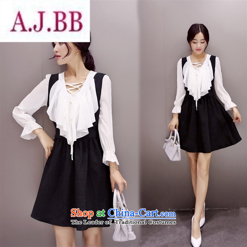 Ya-ting stylish shops 2015 Autumn replacing new products Korean women's dresses two kits XMYR9903 black聽L