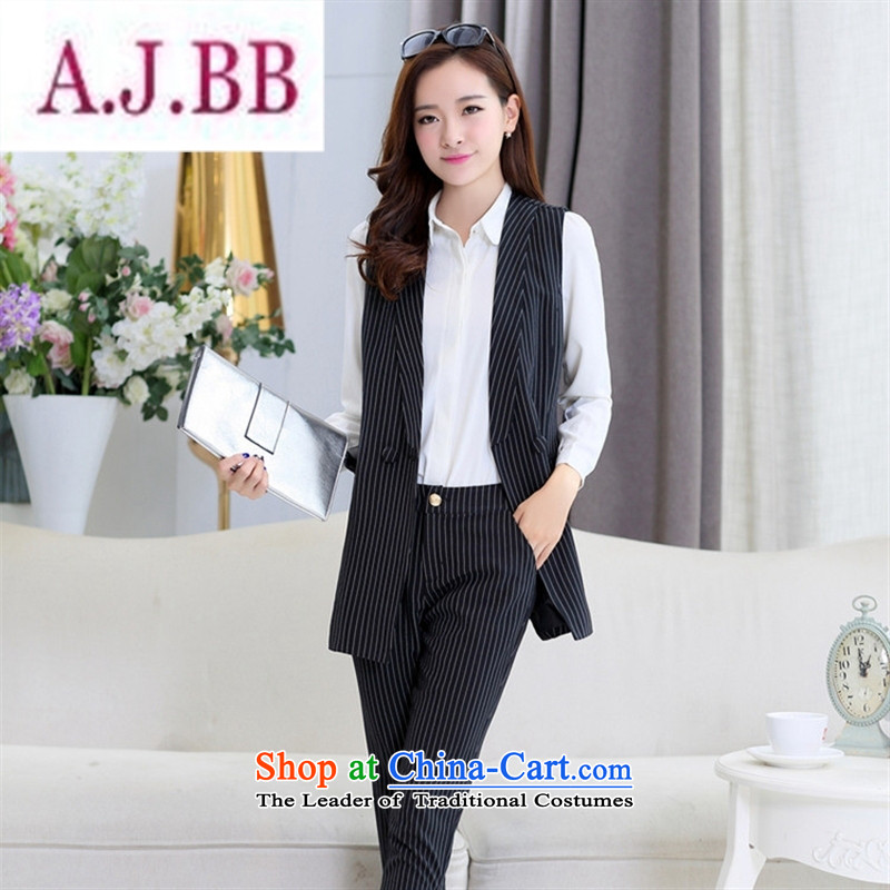 Ya-ting stylish shops 2015 Autumn replacing new products Korean female vest BXF1637 two kits Black聽XL