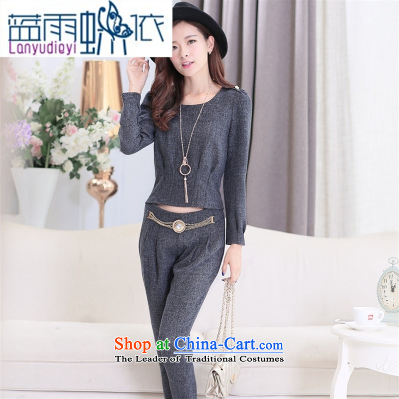 Ya-ting shop 2015 new products fall Korean women's two kits BXF1636 stylish light gray聽XL