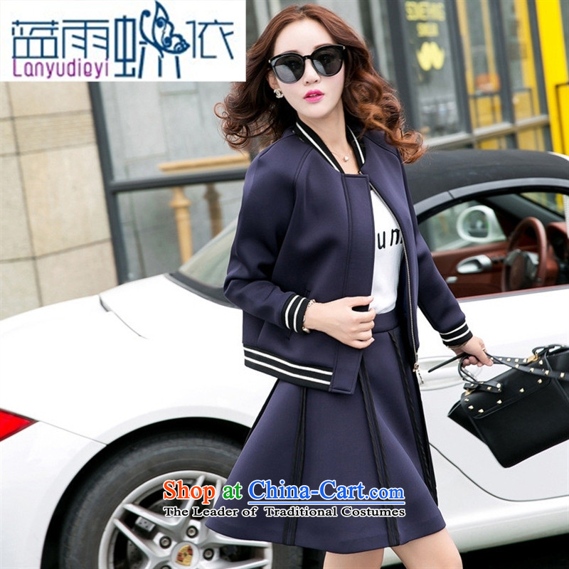 Ya-ting shop 2015 new products fall Korean female baseball serving two kits BXF1655 navy聽M