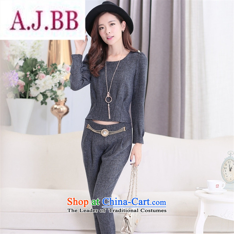 Ya-ting stylish shops 2015 Autumn replacing new products Korean women's stylish two kits BXF1636 CARBON聽XL