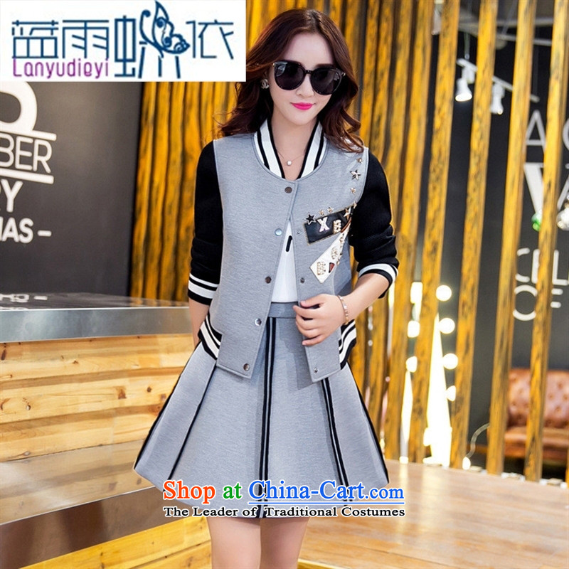 Ya-ting shop 2015 new products fall Korean female baseball serving two kits BXF1653 GRAY聽M