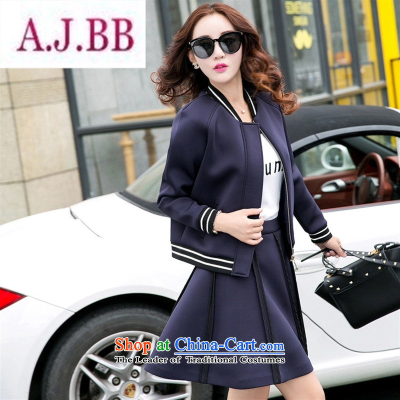 Ya-ting stylish shops 2015 Autumn replacing new products Korean female baseball serving two kits BXF1655 navy?M