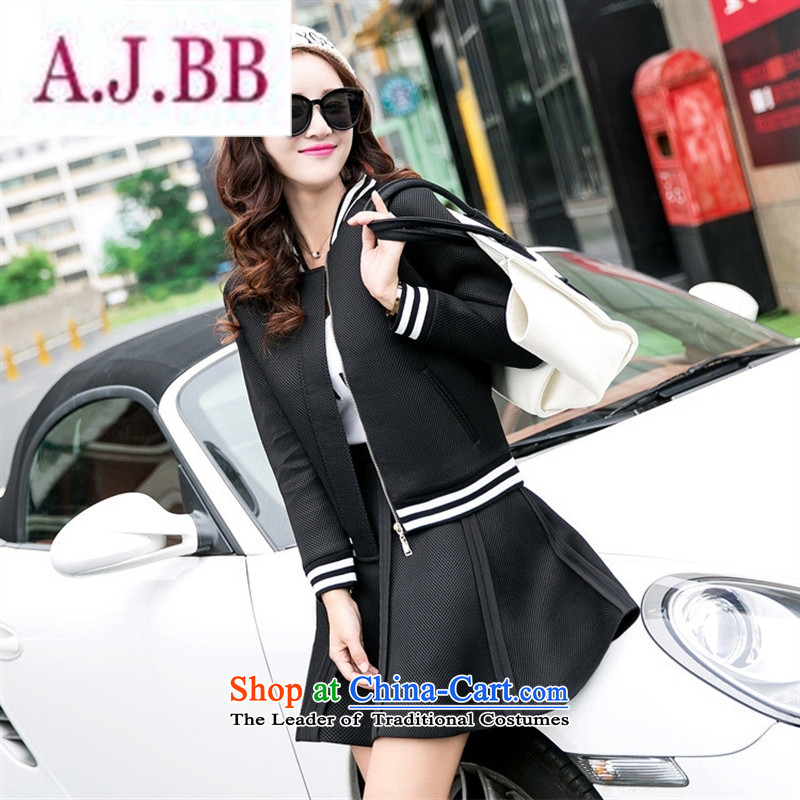 Ya-ting stylish shops 2015 Autumn replacing new products Korean female baseball serving two kits BXF1652 Black燲L