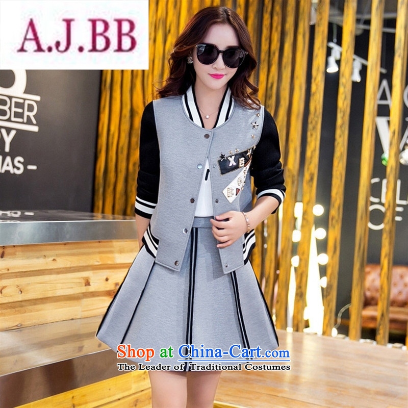 Ya-ting stylish shops 2015 Autumn replacing new products Korean female baseball serving two kits BXF1653 GRAY聽XL