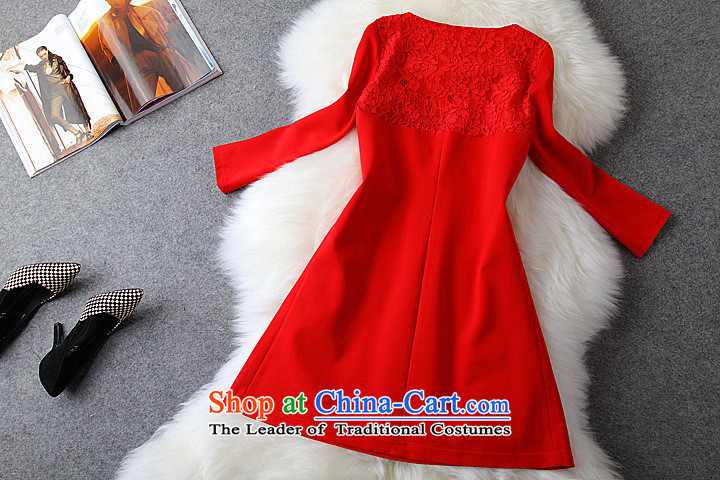 Hee-shadow autumn 2015 installed new women's dresses short skirts temperament large red lace stitching 207 Black XXL picture, prices, brand platters! The elections are supplied in the national character of distribution, so action, buy now enjoy more preferential! As soon as possible.