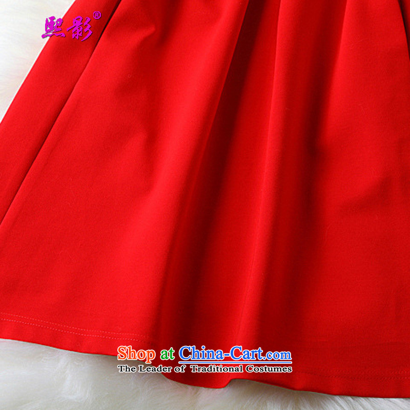 Hee-shadow autumn 2015 installed new women's dresses short skirts temperament large red lace stitching 207 Black XXL, Hee-shadow XIYING) , , , shopping on the Internet