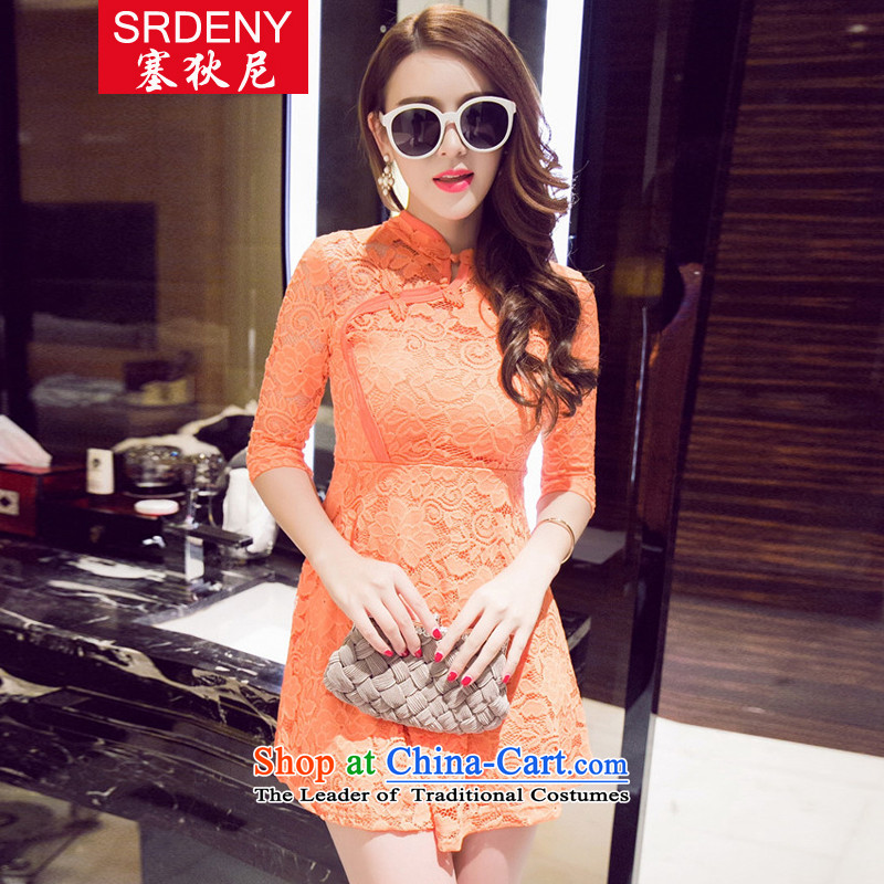 In� 2015, the new Korean fashion with the autumn sexy nightclubs, lace in cheongsam dress�233 sleeved爋range燬