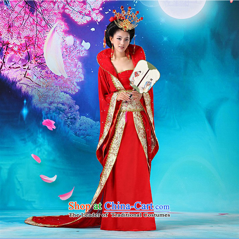 Time Syrian ancient clothing fairies will replace the Princess Margaret Queen sleeper sofa in the Tang dynasty, Han-Queen's female Tang Dynasty Gwi-floor photo album guzheng ancient theatrical services red floor code suitable 160-175cm