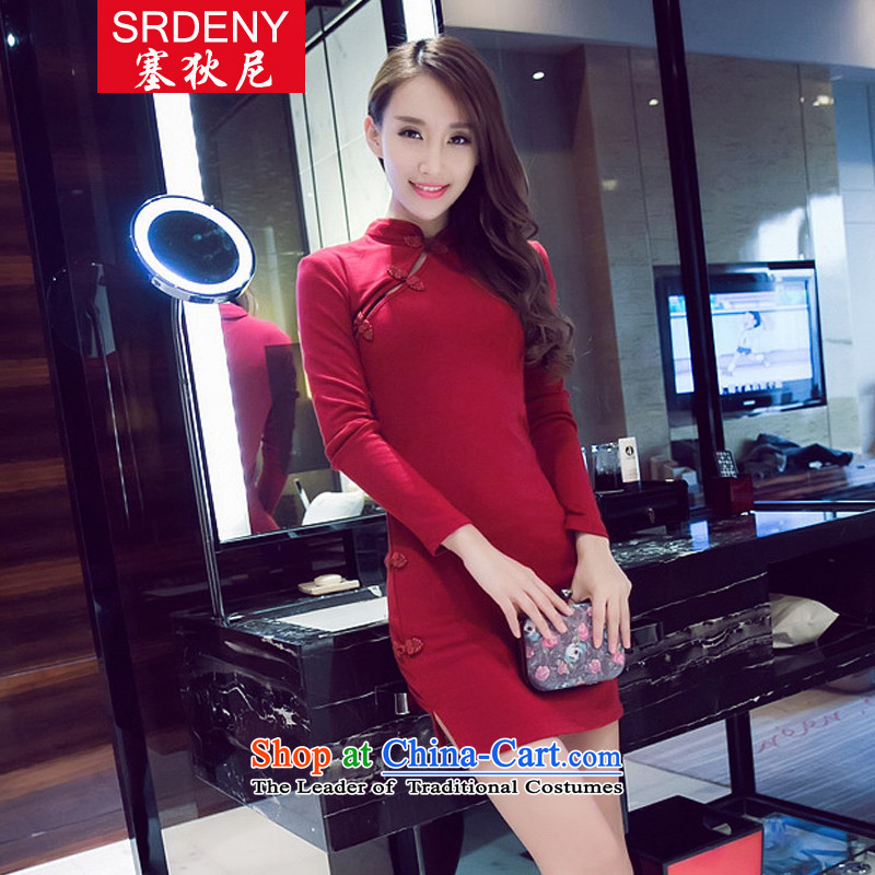 In? 2015, new fall inside the reconstructed sexy beauty package and a mock-neck dresses qipao cotton short skirt?69153?Deep Red?L