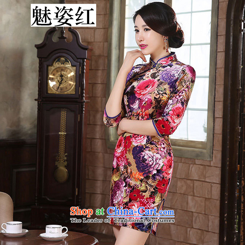 Gigi Lai red gold velour staff retro-hooks cuff of the forklift truck cheongsam women low skirt fashion in the improvement of elderly mother with purple floral S