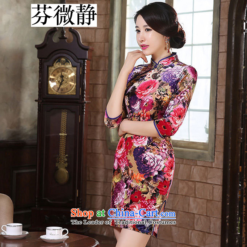 Stephen micro-ching Kim retro-clip in the wool cuff of the forklift truck cheongsam women low skirt fashion in the improvement of elderly mother with purple floral M