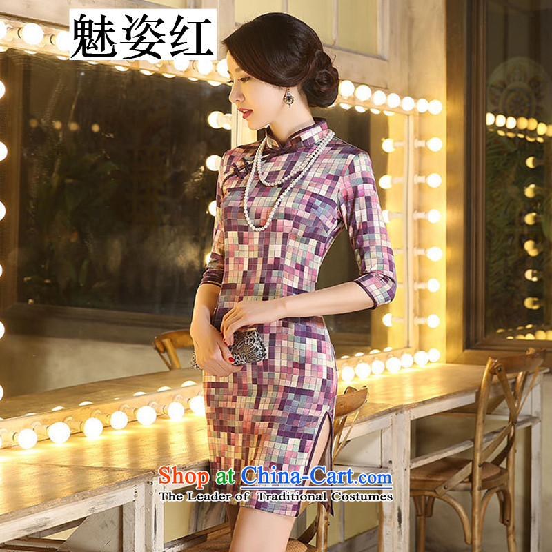 Gigi Lai Hung qipao staff 7 cuff retro grid style literature and art improved temperament in Sau San double qipao skirt camouflage,燬