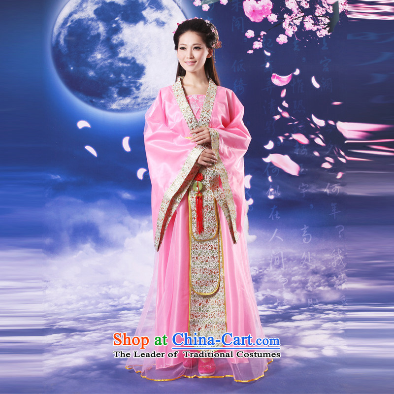 Time Syrian costume cos Han-fairies Princess Han-skirt women improved Han-track civil cos clothes table stage performances clothing female pink floor are suitable for 160-175cm code