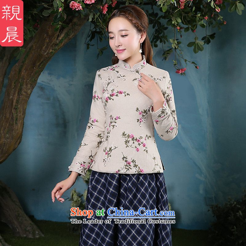 At 2015 new pro-cotton linen thick cotton qipao skirt Sau San daily improved stylish dresses, T-shirt shirt +CDN Diamond blue long skirt�L