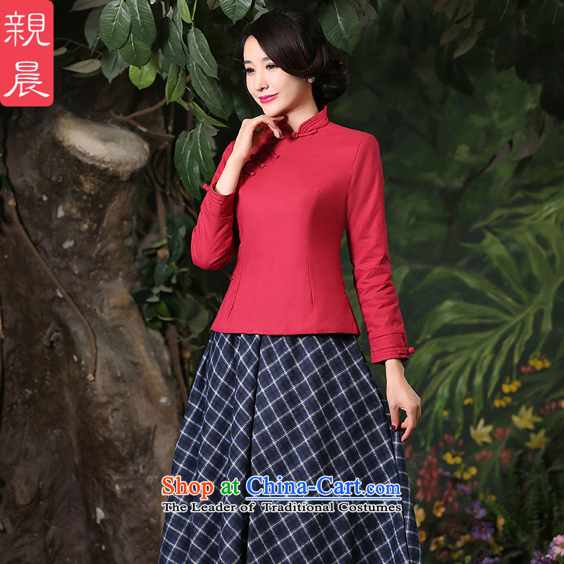 At 2015 new pro-thick cotton linen dresses shirts plus improved daily retro style Chinese autumn and winter, BLOUSES +CDN Diamond blue long skirt S
