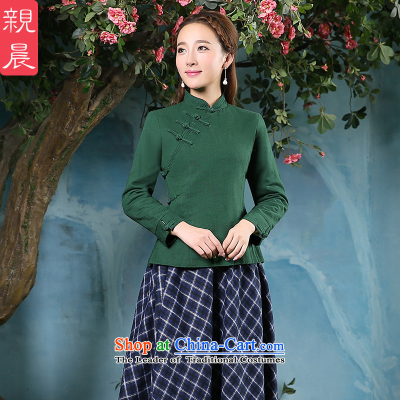 The pro-am new cotton linen cheongsam dress dresses 2015 improved daily retro style autumn and winter, Sau San shirt +CDN shirt Diamond blue long skirt M