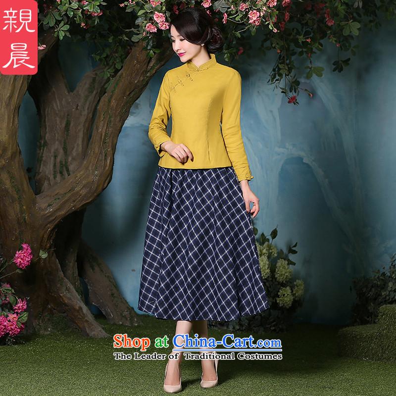 The pro-am cotton linen cheongsam dress 2015 autumn and winter new thick daily improved stylish dresses, Sau San shirt +CDN shirt Diamond blue long skirt?L