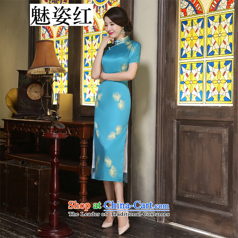 The Taoist priests of the original Hillwood Zhi Ling with long literary qipao manually upgrading stylish double Silk Cheongsam pictures population emulation color燤