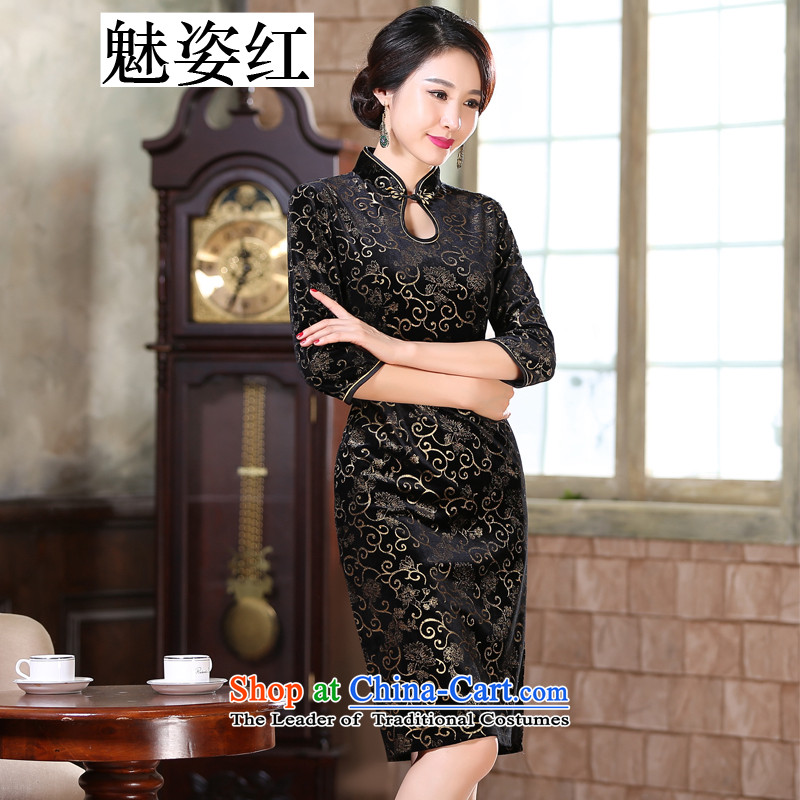 Clear the?new 2015 Red Gigi Lai Kim scouring pads daily retro improved graphics thin hot     in the medium to long term, cuff cheongsam dress black?M