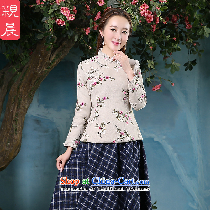 At 2015 new pro-cotton linen thick cotton qipao skirt Sau San daily improved stylish dresses, T-shirt shirt?L