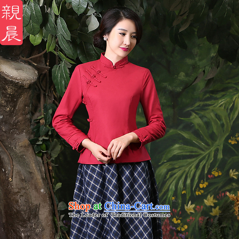 At 2015 new pro-thick cotton linen dresses shirts plus improved daily retro style Chinese autumn and winter, blouses 2XL