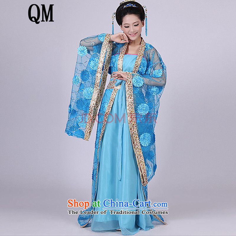 The end of the Tang dynasty costume light Han-Queen's tail Gwi-clothing fairies ancient costumes high collar on-chip mounted female?CX8 gwi?rose red are code