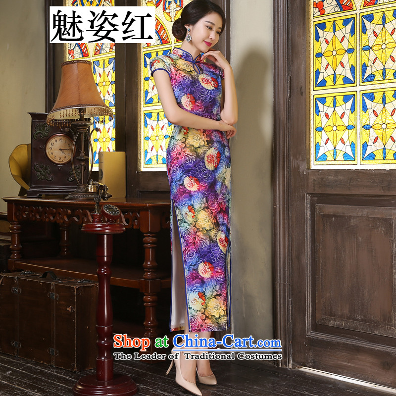 Gigi Lai red gold velour Staff Badges of Stylish retro pipa long high on the forklift truck in older wedding dresses improved dress dresses Huakai Fugui XXL