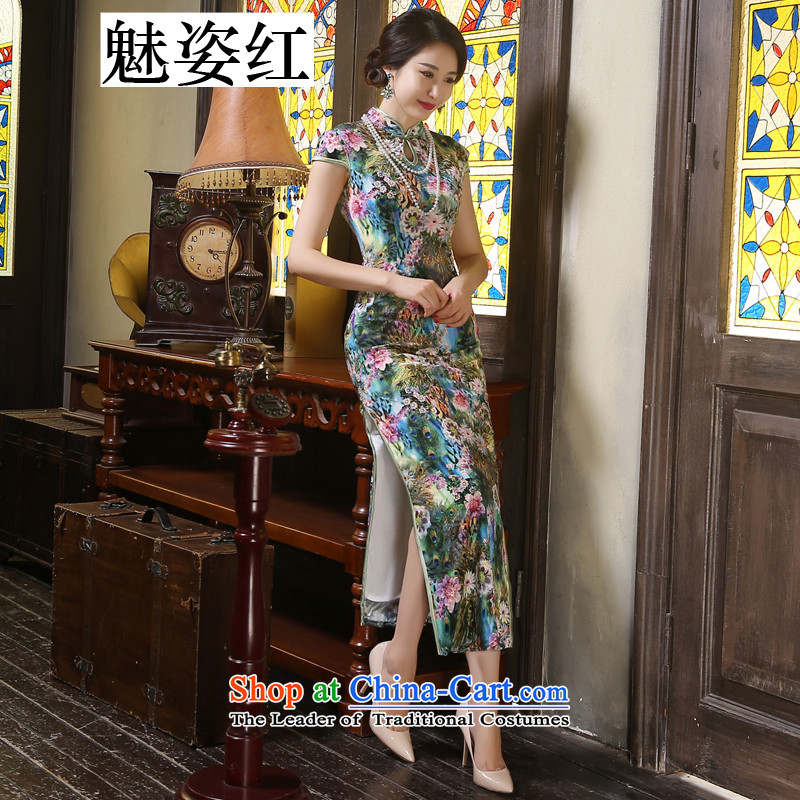 Gigi Lai Red Chinese improvement of wool high of the forklift truck long qipao gown pipa daily banquet dresses stage performances dress anchovy flower?S