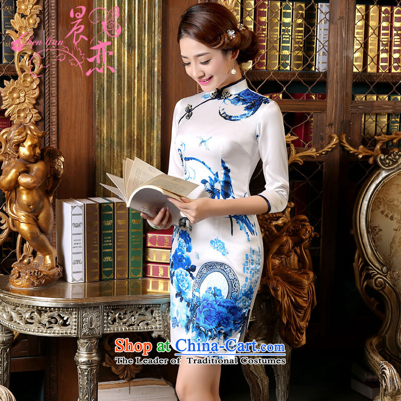 Morning spring and autumn 2015 Land New Stylish retro short, long-sleeved improved sauna silk cheongsam dress blue light blue XXL