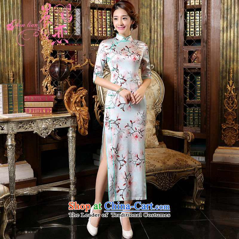 Morning New Autumn Love cheongsam with retro long improved stylish heavyweight silk cheongsam dress in Chinese cuff Magnolia skyblue L