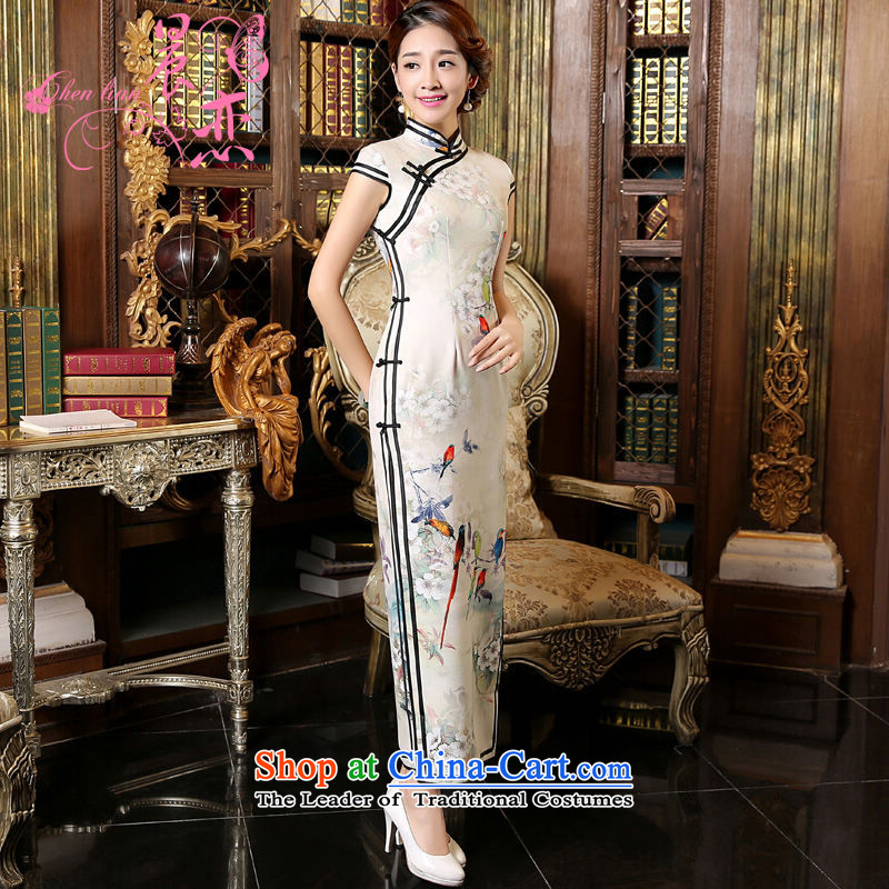 Morning new qipao land 2015 Autumn replacing retro long improved stylish Chinese cheongsam dress short-sleeved white 155_S Bird