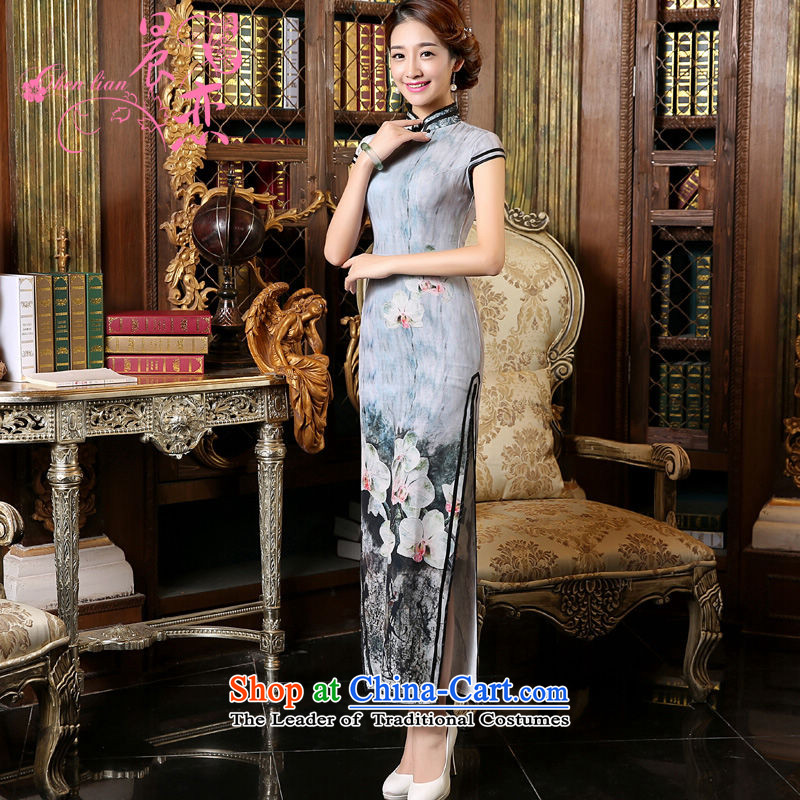 Morning new qipao land�2015 Autumn replacing retro long improved stylish Chinese cheongsam dress short-sleeved gray orchid gray�XL