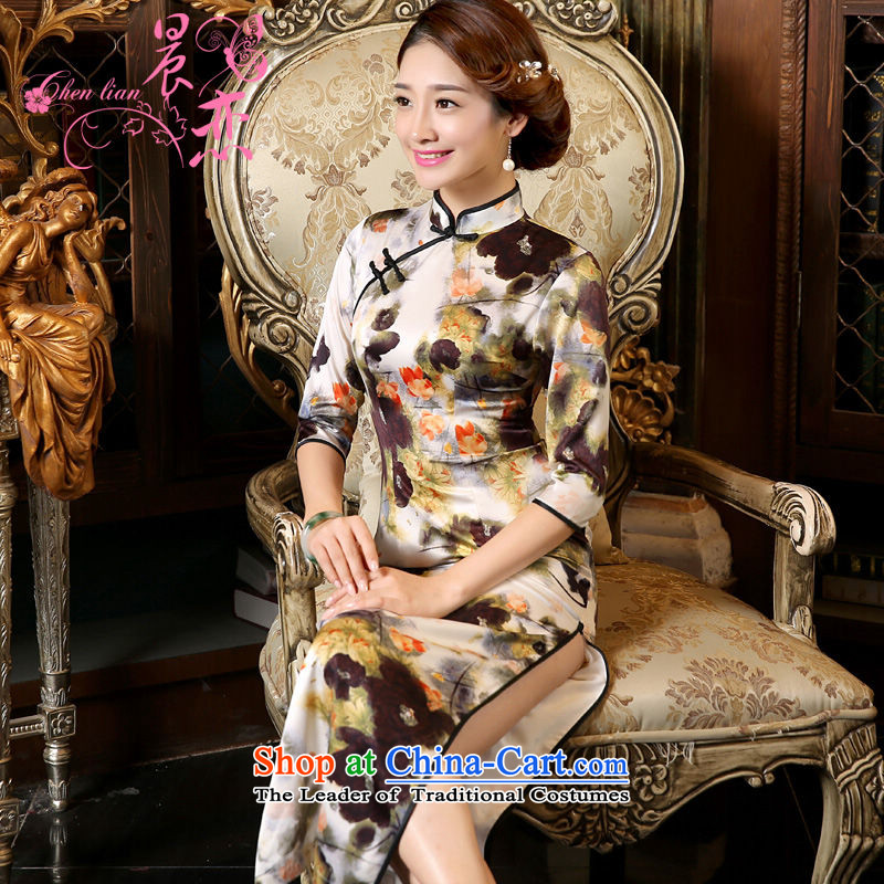 Morning new qipao land 2015 Autumn replacing retro long improved stylish Chinese herbs extract cheongsam dress long-sleeved ink following suit?L