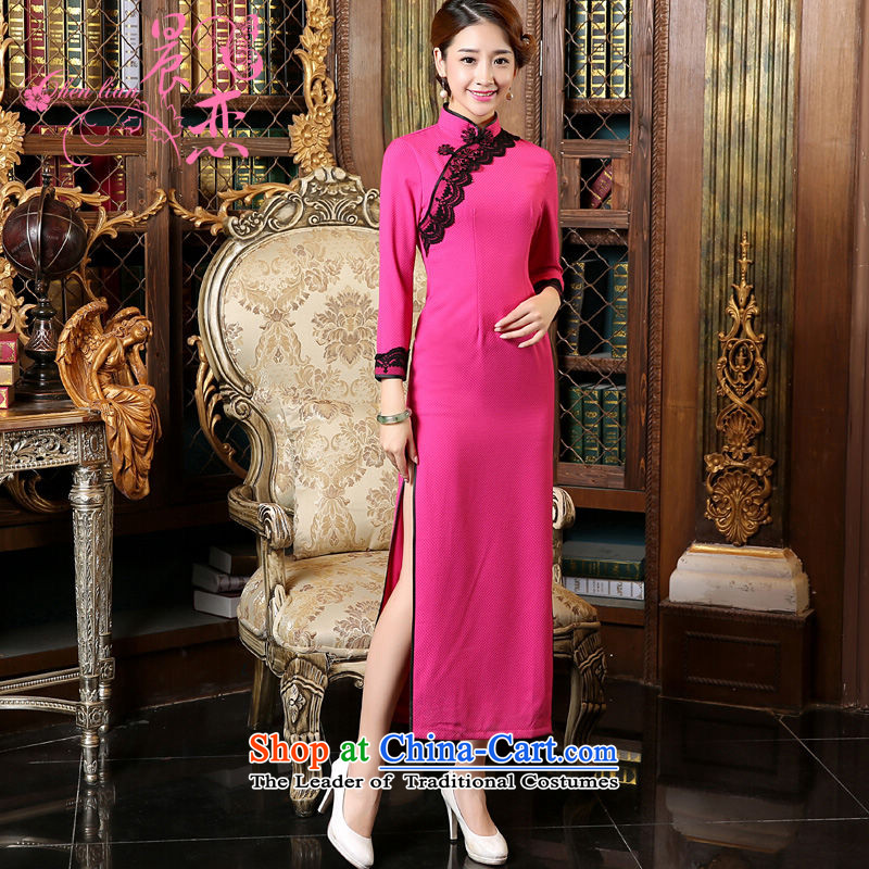 Morning New Autumn Love cheongsam with retro long improved long-sleeved cheongsam dress stylish Chinese Republic of Korea in the red and green in red聽155_S