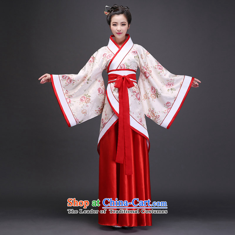 Syria costume Han-hour fairies skirt gliding clothing Tang Dynasty Han-Women's ancient lady in the Guzheng show floor floor white photographic portrait are suitable for 160-175cm code