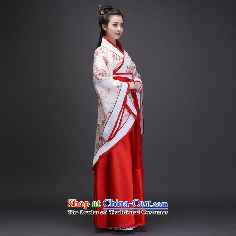 Syria costume Han-hour fairies skirt gliding clothing Tang Dynasty Han-Women's ancient lady in the Guzheng show floor floor white photographic portrait are suitable for time code 160-175cm, Syrian shopping on the Internet has been pressed.