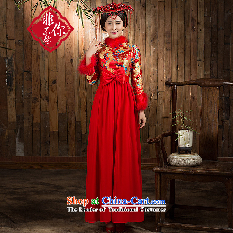 Non-you do not marry 2015 Autumn embroidery bows services bride cheongsam red pregnant women for larger wedding dress bridal dresses back door onto the skirt爄n E-long-sleeved waist long skirt cotton燤