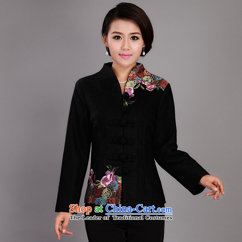 Adam and Eve elderly factory explosion urges the autumn and winter female thick hair? Tang jackets and stylish with autumn load Sau San MOM 2019 Black�5XL