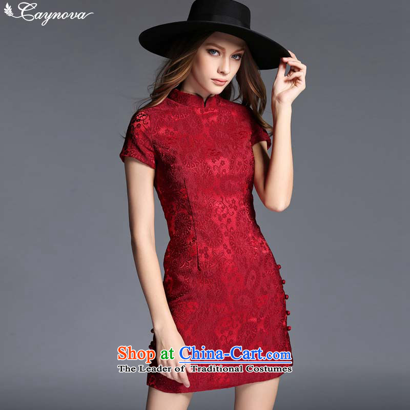 Load New autumn caynova2015 China wind retro jacquard Sau San video picture of the forklift truck qipao thin color�M