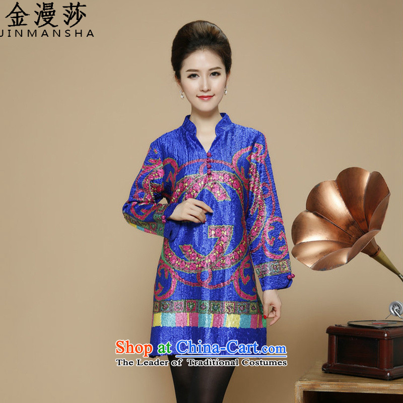 Kim Man new products in 2015 Lisa older creases mother replacing Tang dynasty dresses new products in the number of older women XXXXL blue